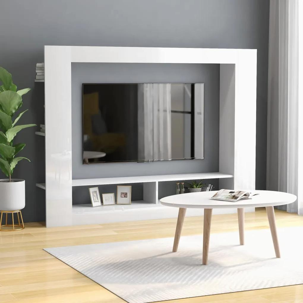 800744 vidaXL Comodă TV, alb lucios, 152 x 22 x 113 cm, PAL