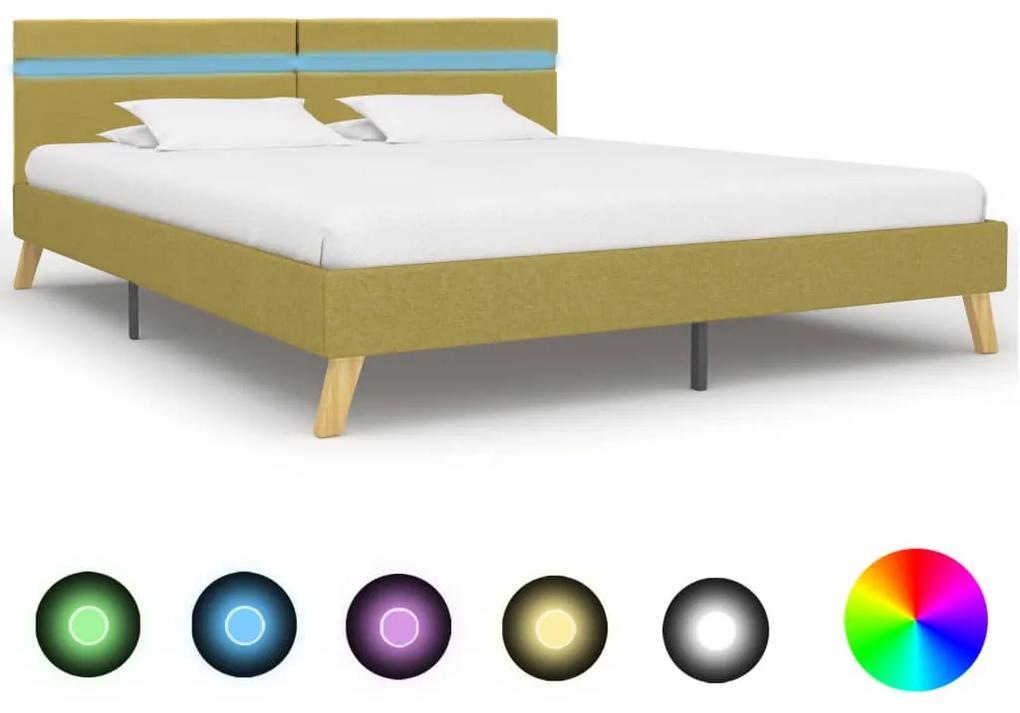 284863 vidaXL Cadru de pat cu LED-uri, verde, 180 x 200 cm, material textil
