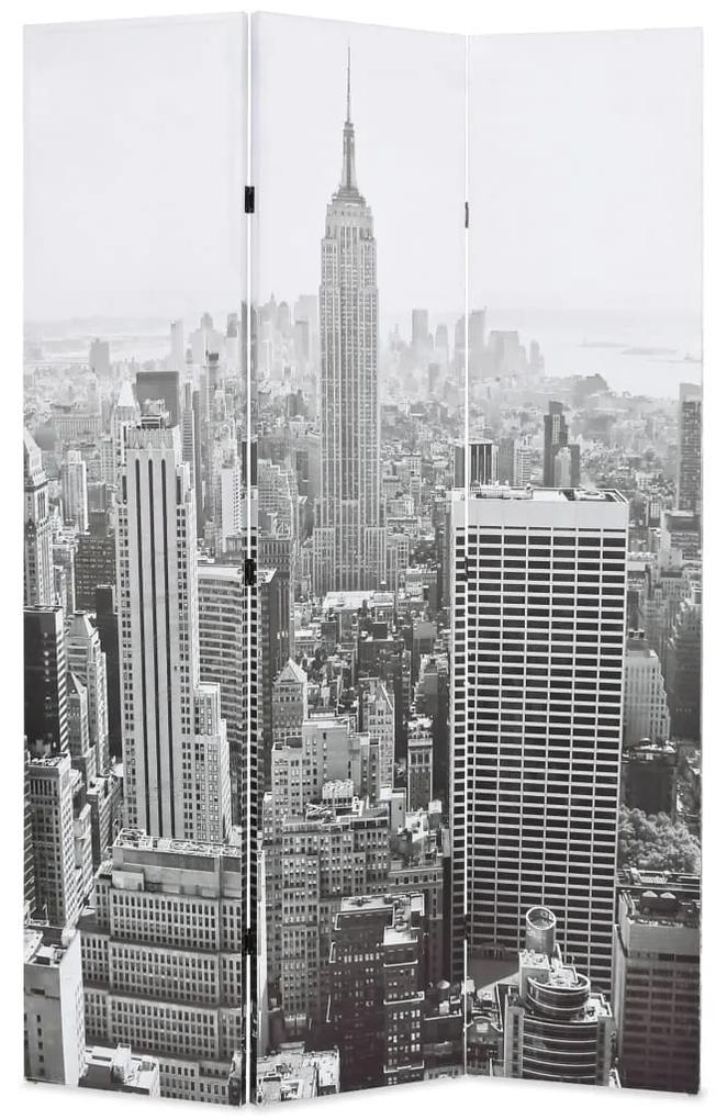 245857 vidaXL Paravan cameră pliabil, 120x170 cm, New York pe zi, alb/negru
