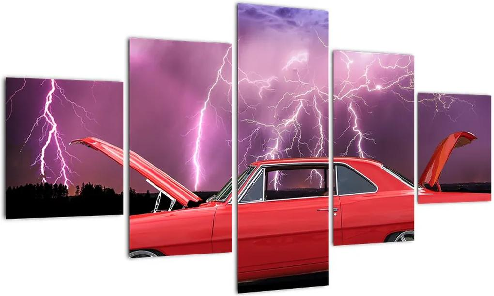 Tablou cu mașina roșie (125x70 cm), în 40 de alte dimensiuni noi