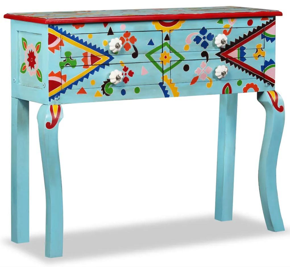 244596 vidaXL Masă consolă, lemn masiv de mango, albastru, pictat manual