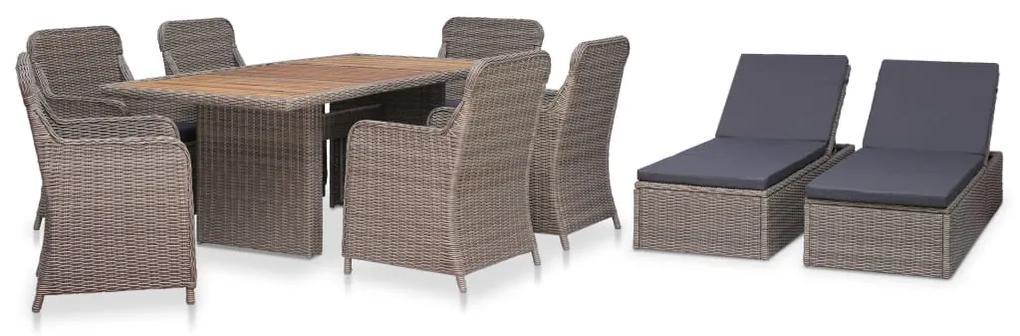 44142 vidaXL Set mobilier de exterior cu șezlong, 9 piese, maro, poliratan