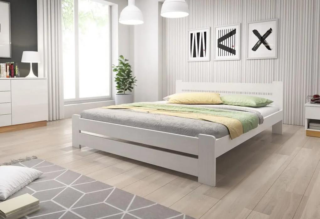 Expedo  Pat din lemn masiv HEUREKA + saltea spumă DE LUX 14 cm + somieră GRATIS 200 x 200 cm, alb