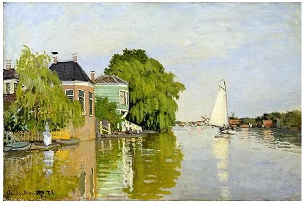 Reproducere pe pânză după Claude Monet - Houses on the Achterzaan, 90 x 60 cm