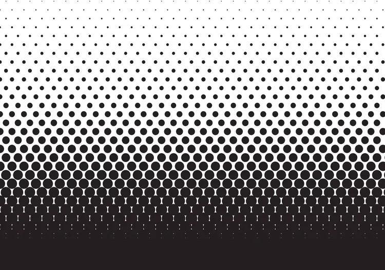 Abstract Black Black Dots Fototapet, (91 x 211 cm)