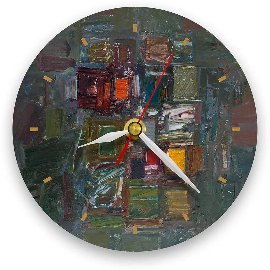 Ceas de perete - Abstract, amalgam multicolor 21 cm, lemn