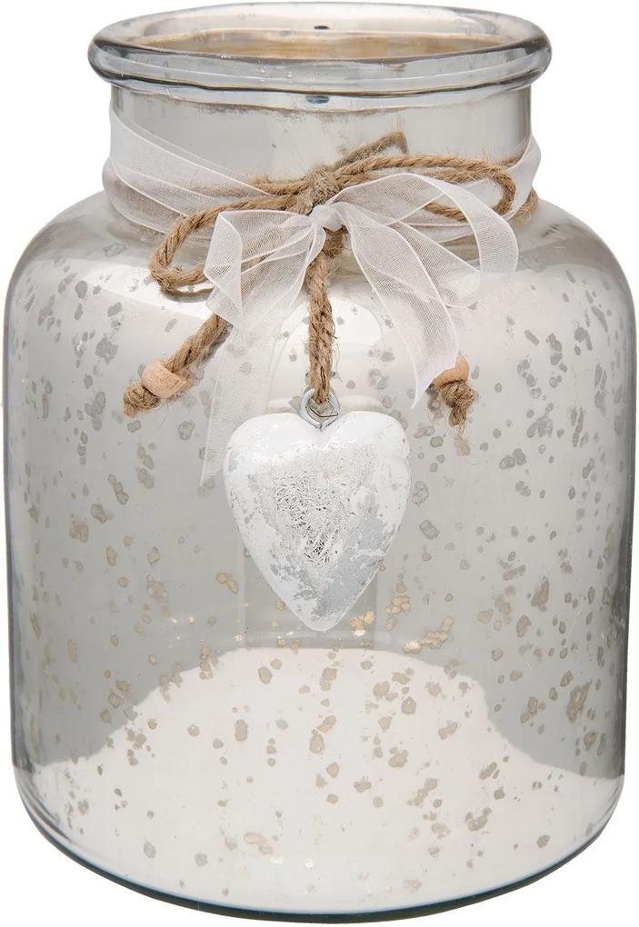 Vaza sticla argintie Heart Ø 17x20 cm