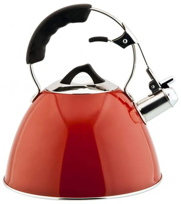Ceainic rosu din otel inoxidabil (inox) cu avertizare sonora 3 Litri Aquatic Carl Schmidt Sohn OT 58449