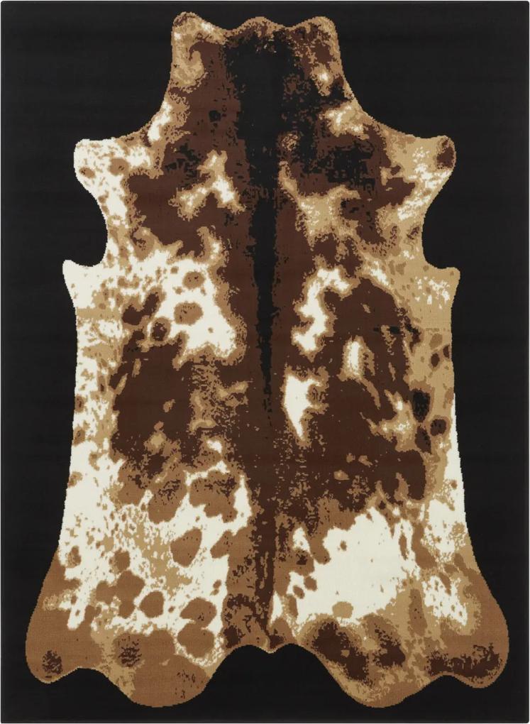 Covor Animal Print Velours, Negru/Maro 180x260