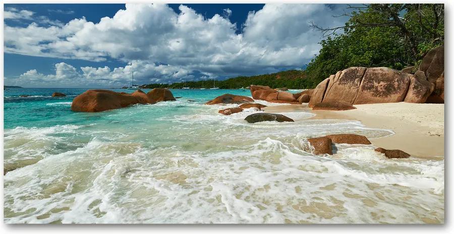 Tablou pe sticlă acrilică Plaja Seychelles