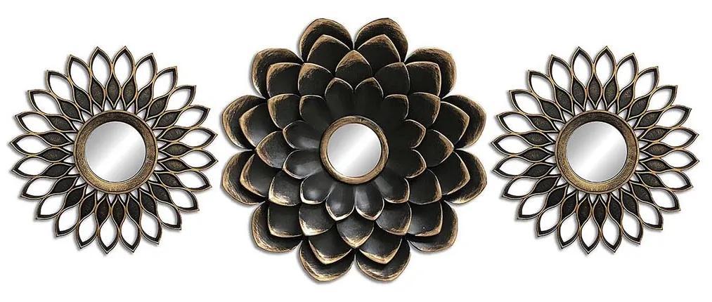Set 3 decoratiuni cu oglinda Versa Flower M2