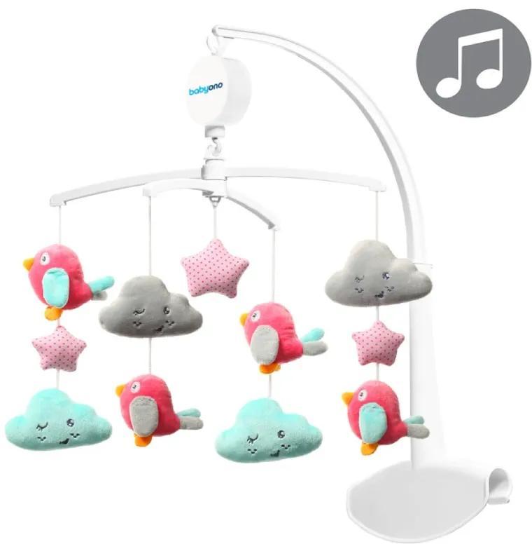 Carusel Muzical Cloud&Birds Plus Roz Bebelusi Fetite BabyOno 626