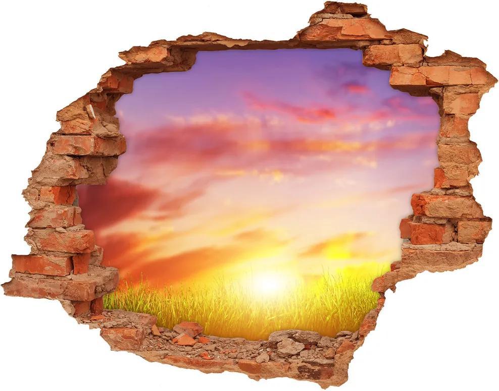 Fototapet un zid spart cu priveliște Apus de soare