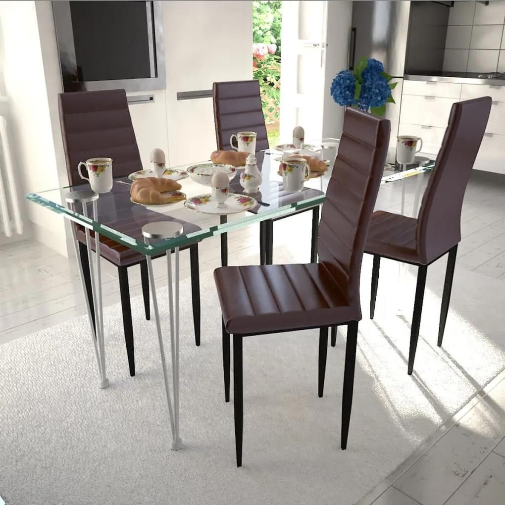 271693 vidaXL Set 4 scaune de culoare maro și masă de sticlă