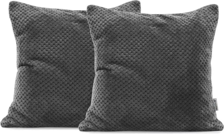 Set 2 fețe de pernă din microfibră DecoKing Henry, 45 x 45 cm, gri închis