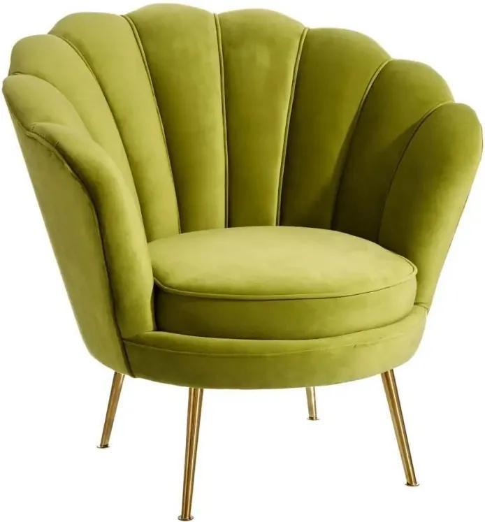 Fotoliu verde din catifea cu picioare metal auriu Shell Ixia