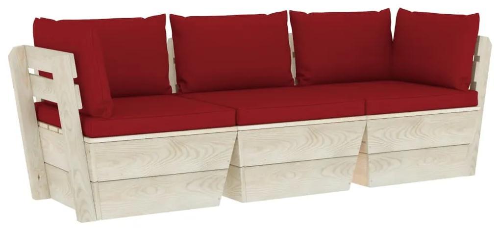 3063405 vidaXL Canapea de grădină din paleți cu perne 3 locuri lemn de molid