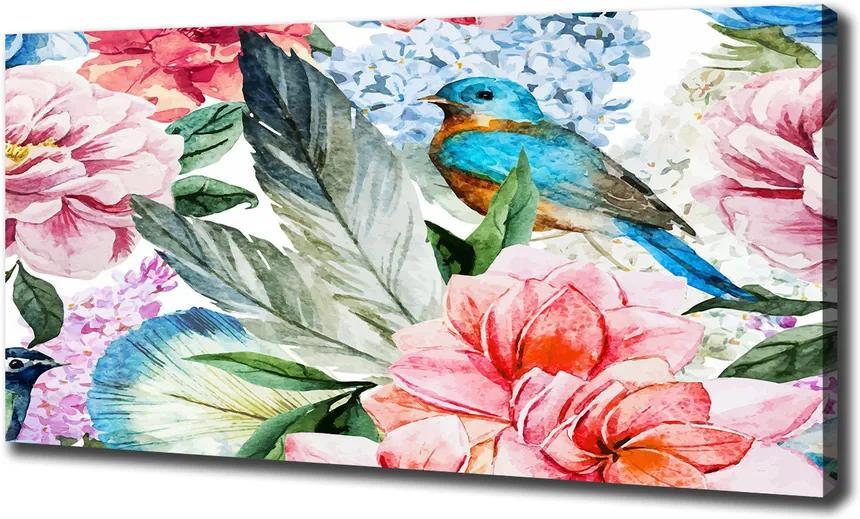 Tablou canvas Flori și păsări