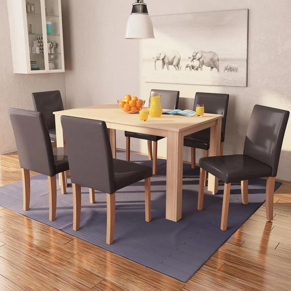 243530 vidaXL Masă și scaune 7 piese, piele artificială, stejar, maro