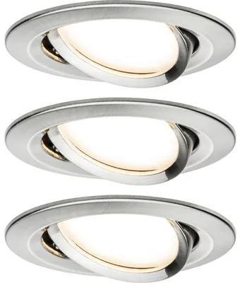 Spoturi incastrabile mobile Nova 6,5W Ø84 mm, module becuri LED Coin incluse, nichel mat, 3 bucati