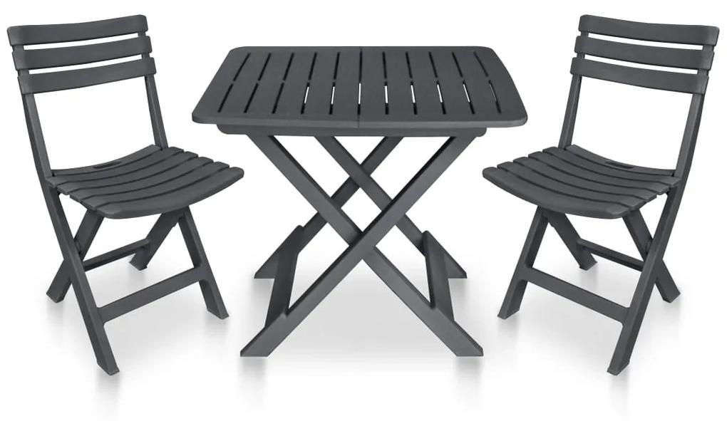 48753 vidaXL Set mobilier de bistro pliabil, 3 piese, antracit, plastic