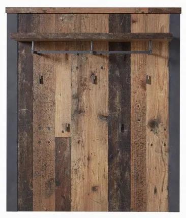 Cuier din pal cu etajera Chelsea Natural / Grafit, l94xA30xH110 cm