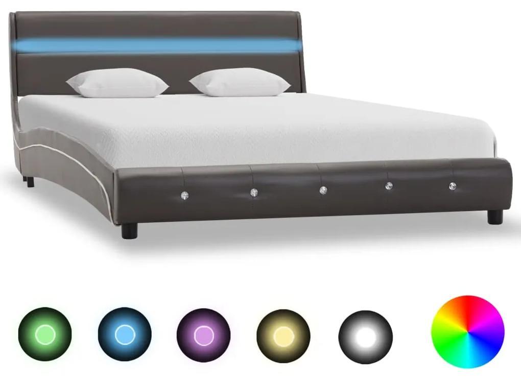280340 vidaXL Cadru de pat cu LED, gri, 160 x 200 cm, piele ecologică