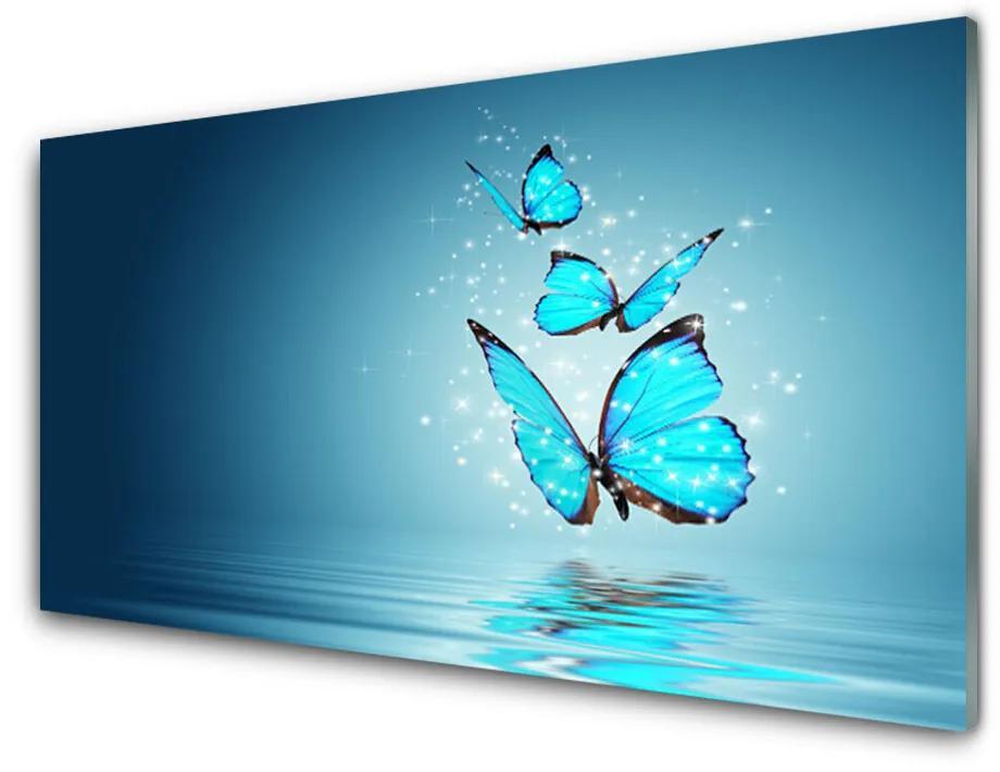 Tablou pe sticla acrilica Fluturi Art Albastru