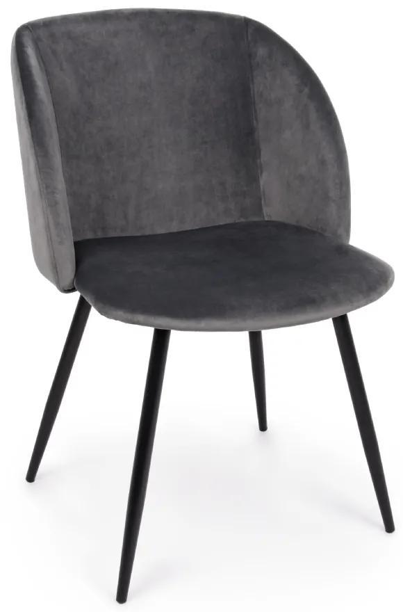 Scaun dining catifea gri inchis Crown Dark Grey Velvet