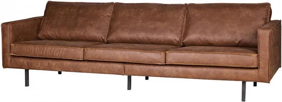 Canapea maro din piele pentru 3 persoane Rodeo Cognac
