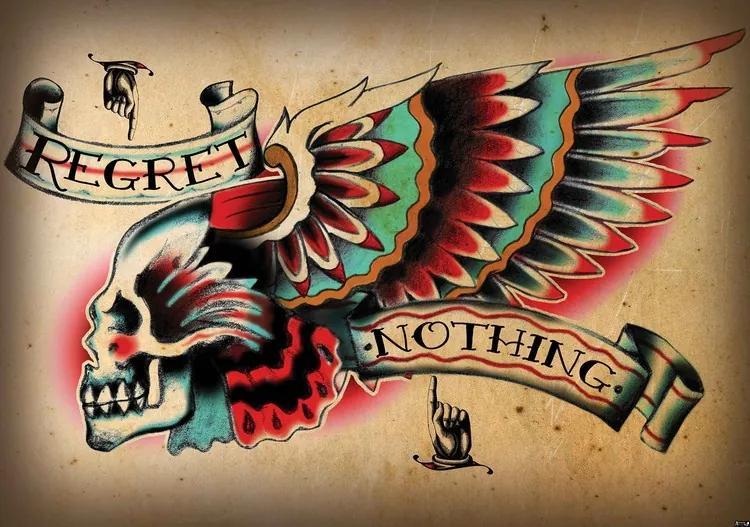 Skull Tattoo Wing Fototapet, (250 x 104 cm)