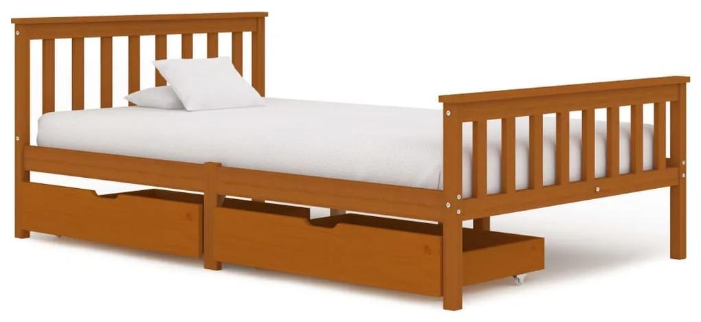 3060530 vidaXL Cadru de pat cu 2 sertare, maro miere 120x200 cm lemn masiv pin