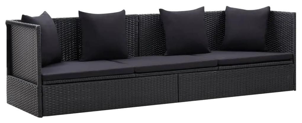 46087 vidaXL Canapea de exterior cu perne, negru, poliratan