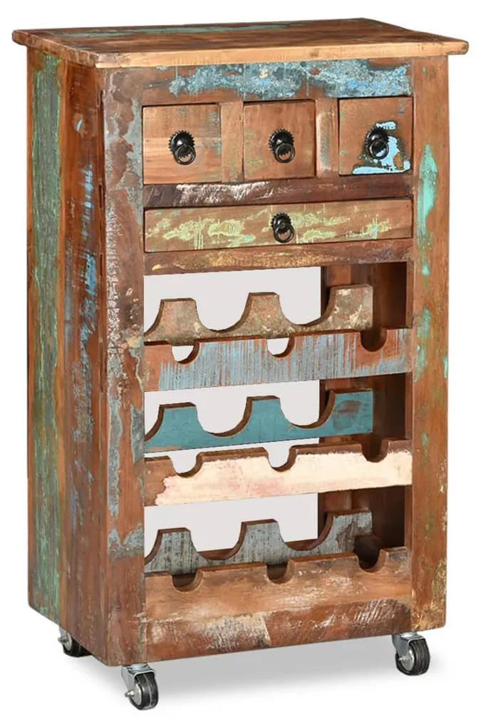 244833 vidaXL Suport pentru 9 sticle de vin, lemn masiv reciclat