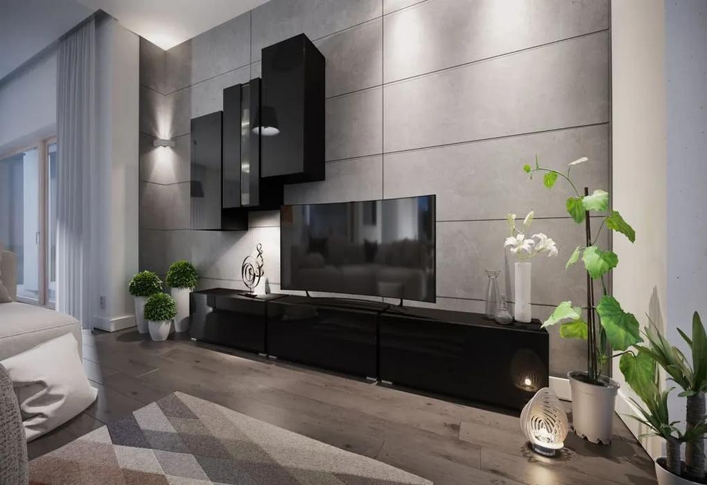 Expedo Mobilă sufragerie ELPASO 5 + LED + picioare, negru/negru luciu