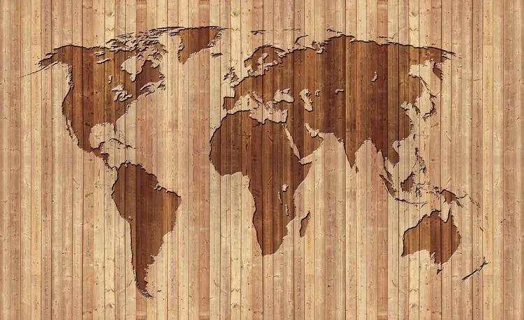 World Map Wood Fototapet, (104 x 70.5 cm)