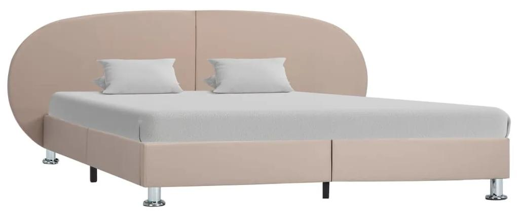 285423 vidaXL Cadru de pat, cappuccino, 140 x 200 cm, piele ecologică