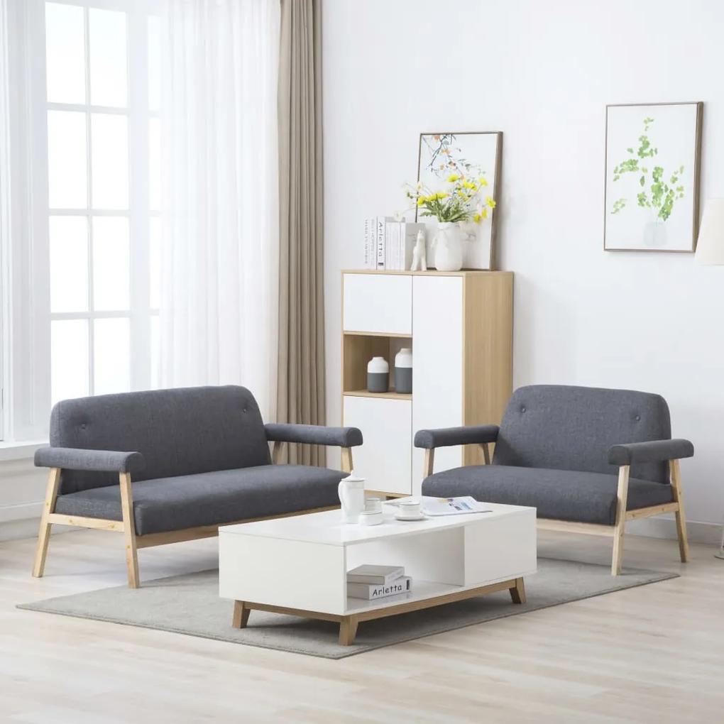 275211 vidaXL Set canapele de 5 persoane, 2 piese, gri închis material textil