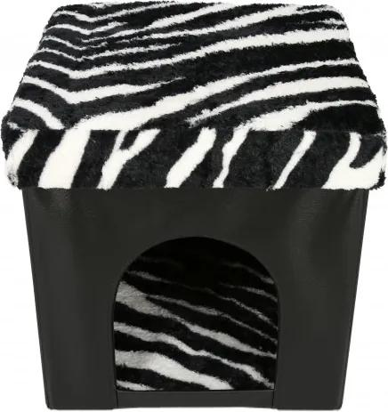 Taburet cu Spatiu Depozitare si vizuina animale, 38x38x38 cm, piele ecologica,negru