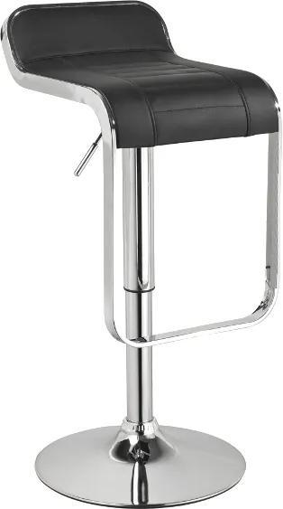 Scaun de bar tapitat cu piele ecologică C621 negru 35x42x68 cm