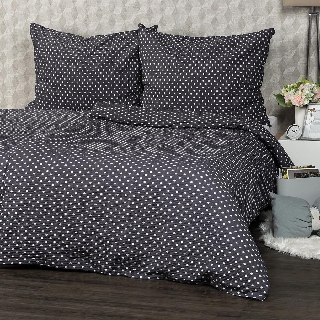 Lenjerie de pat 4Home Bulină gri, din crep, 220 x 200 cm, 2 buc. 70 x 90 cm, 220 x 200 cm, 2 buc. 70 x 90 cm