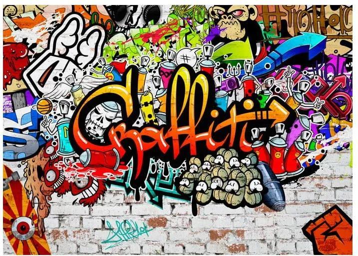 Tapet format mare Bimago Colourful Graffiti, 350 x 245 cm