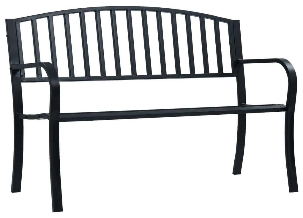 47941 vidaXL Bancă de grădină, negru, 125 cm, oțel