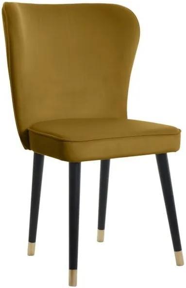 Scaun dining cu detalii aurii JohnsonStyle Odette French Velvet, galben muștar