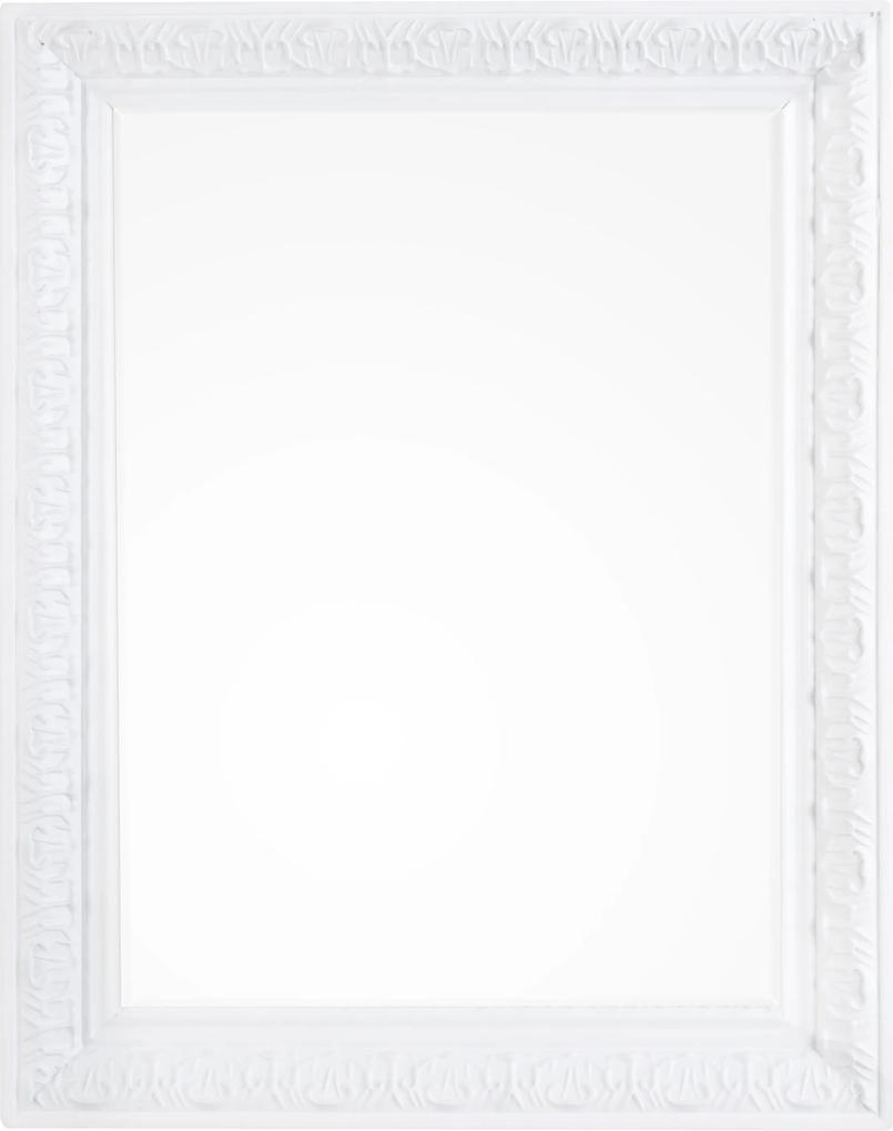 Oglinda decorativa perete cu rama alba patinata Miro 35 cm x 45h