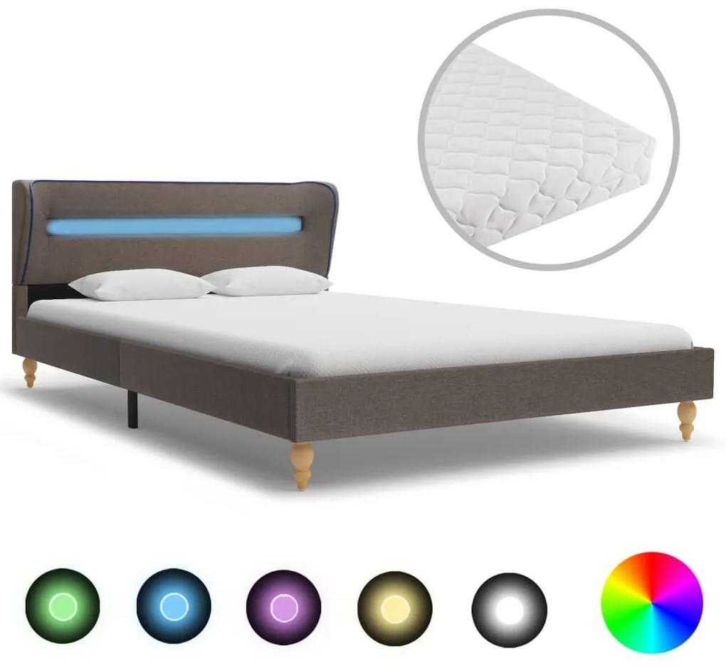 277703 vidaXL Pat cu LED și saltea, gri taupe, 120 x 200 cm, material textil