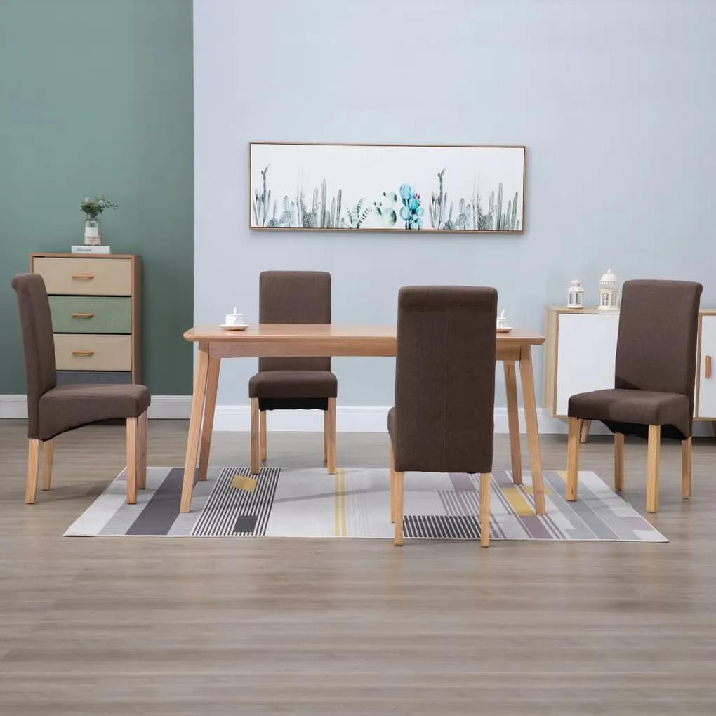 249026 vidaXL Scaune de sufragerie, 4 buc., maro, material textil