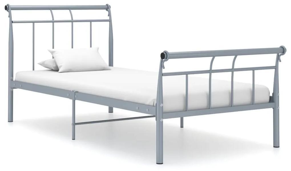 325032 vidaXL Cadru de pat, gri, 90x200 cm, metal