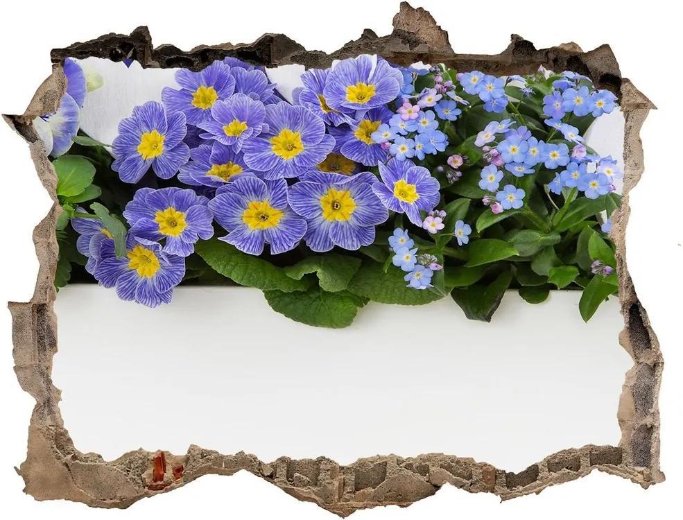 Autocolant gaură 3D Flori albastre