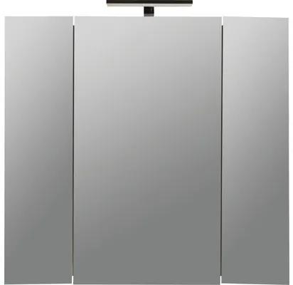 Dulapior cu oglinda Fly, 3 usi, iluminare LED, 77x72 cm, alb lucios, IP 44
